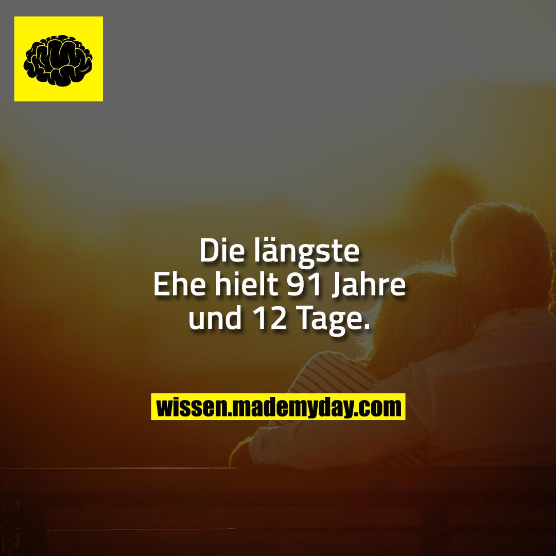 Die längste Ehe hielt 91 Jahre und 12 Tage.