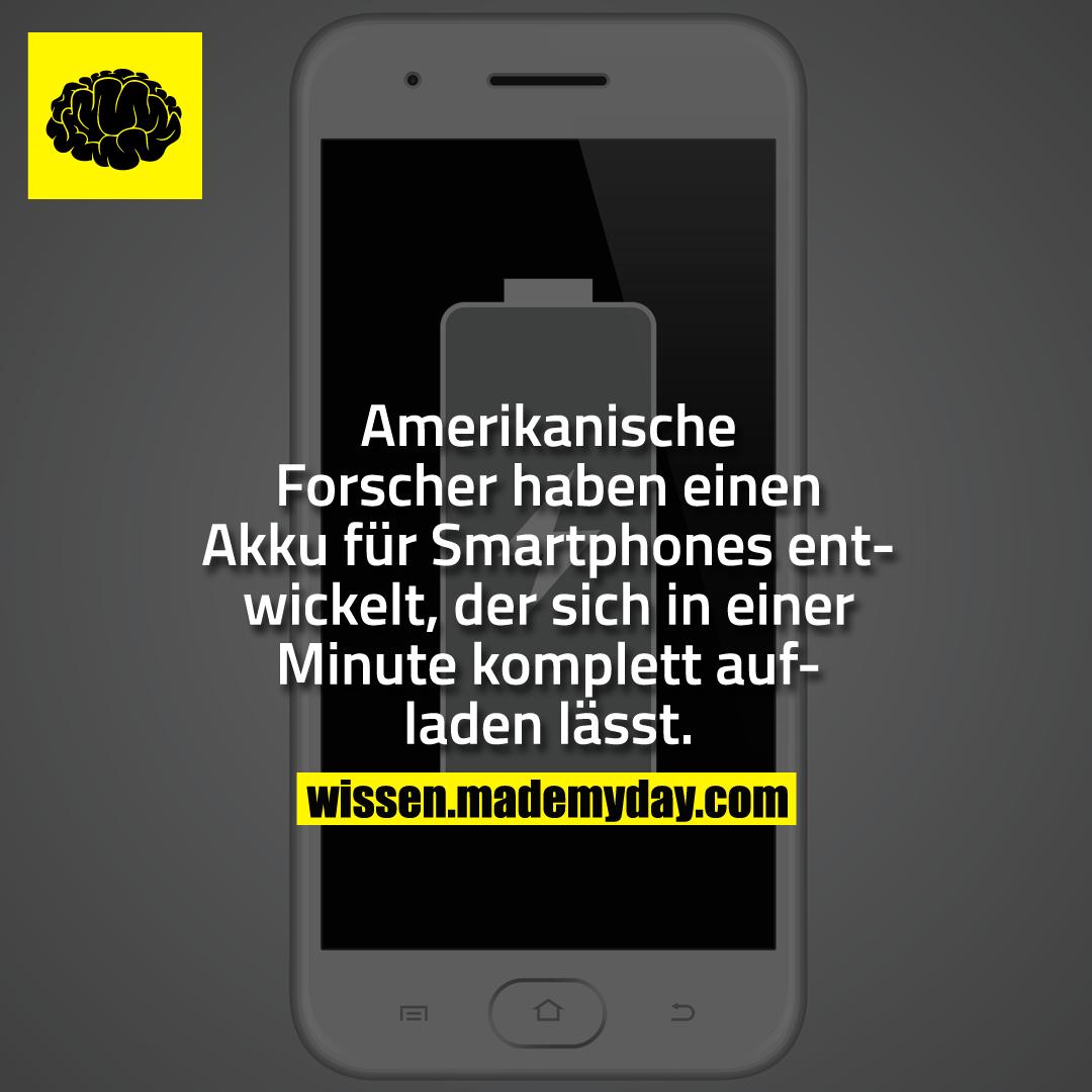 Amerikanische Forscher haben einen Akku für Smartphones entwickelt, der sich in einer Minute komplett aufladen lässt.