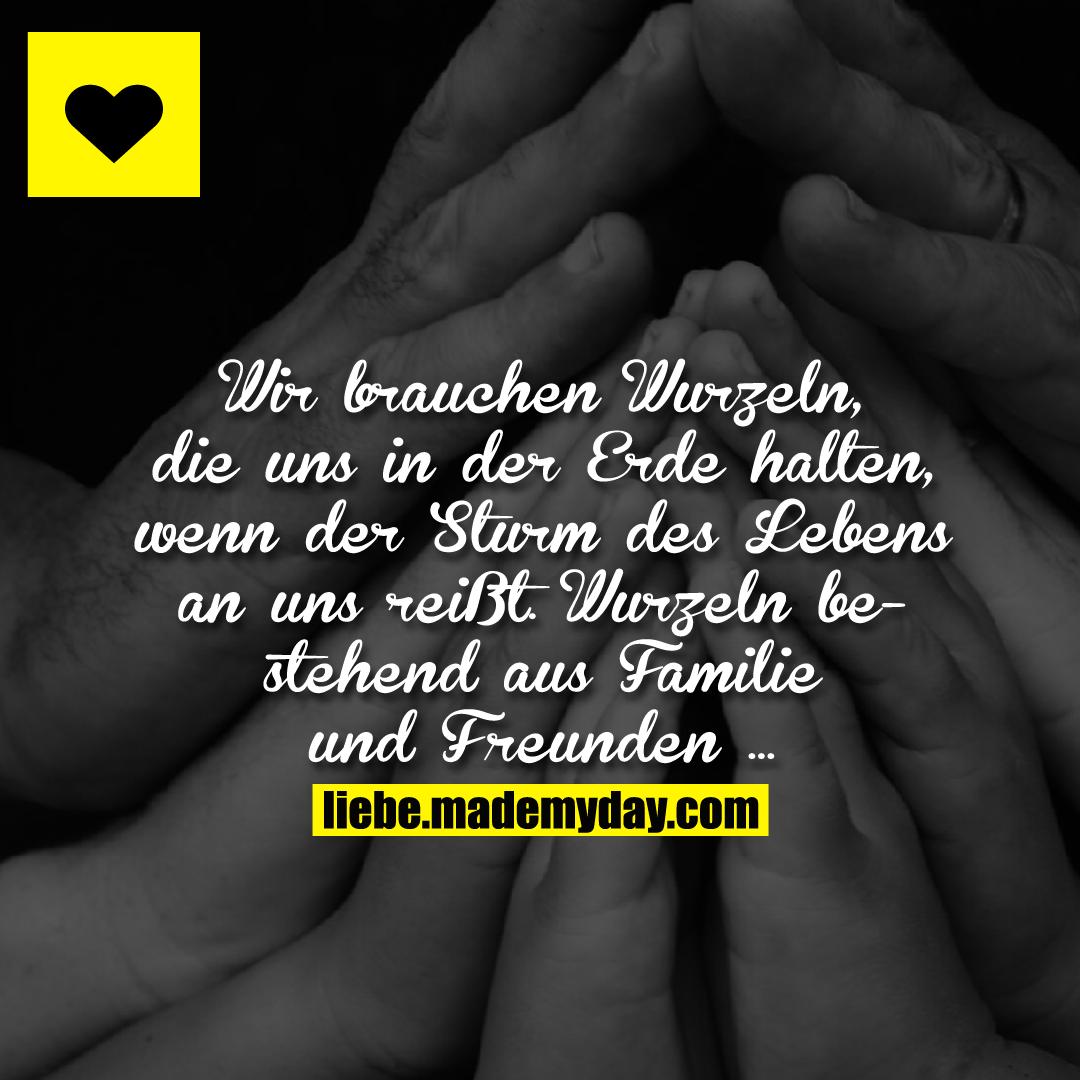 Wir brauchen Wurzeln, die uns in der Erde halten, wenn der Sturm des Lebens an uns reißt. Wurzeln bestehend aus Familie und Freunden ...