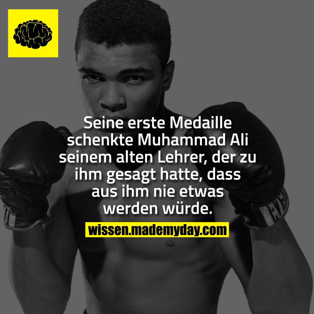 Seine erste Medaille schenkte Muhammad Ali seinem alten Lehrer, der zu ihm gesagt hatte, dass aus ihm nie etwas werden würde.