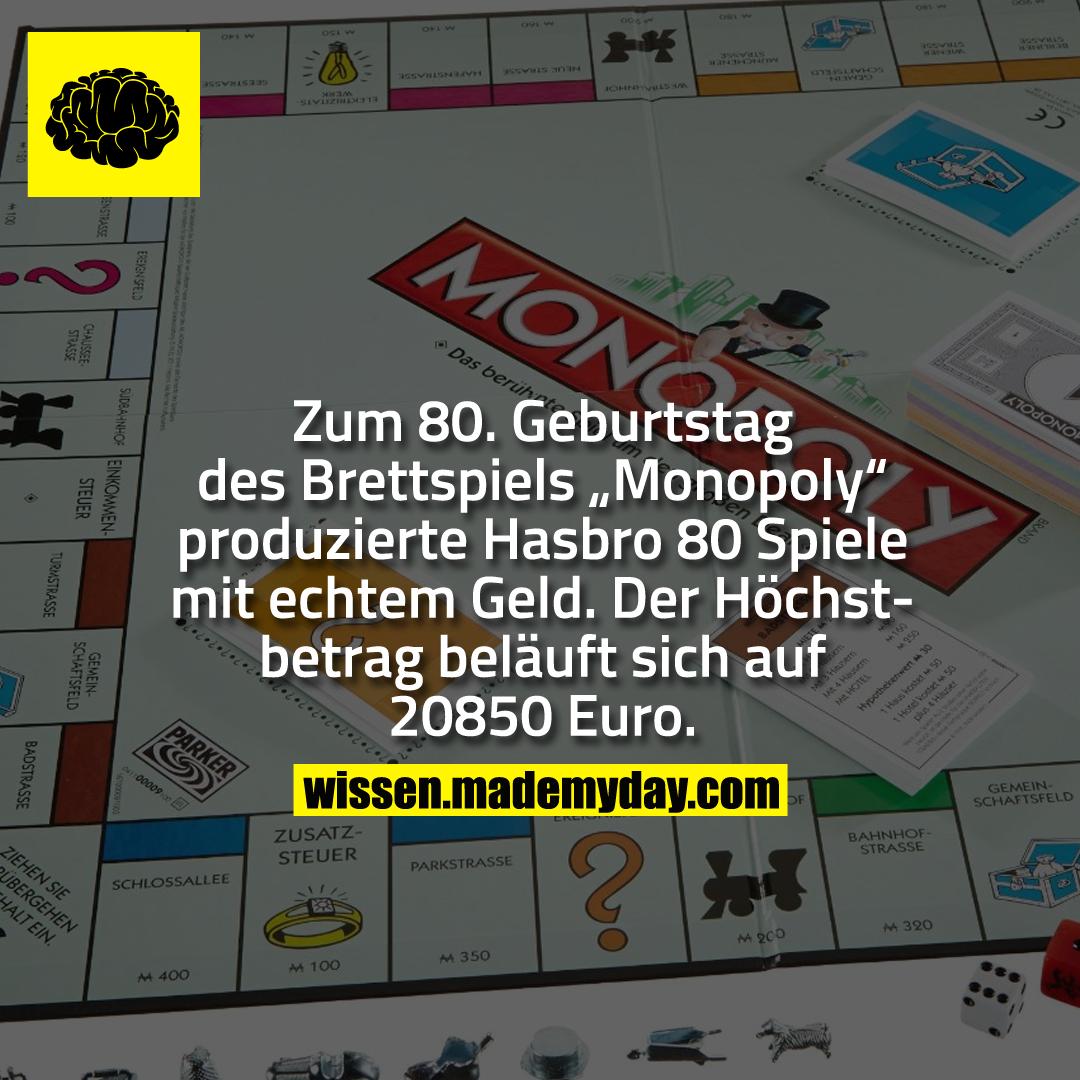 wieviel geld bekommt jeder bei monopoly