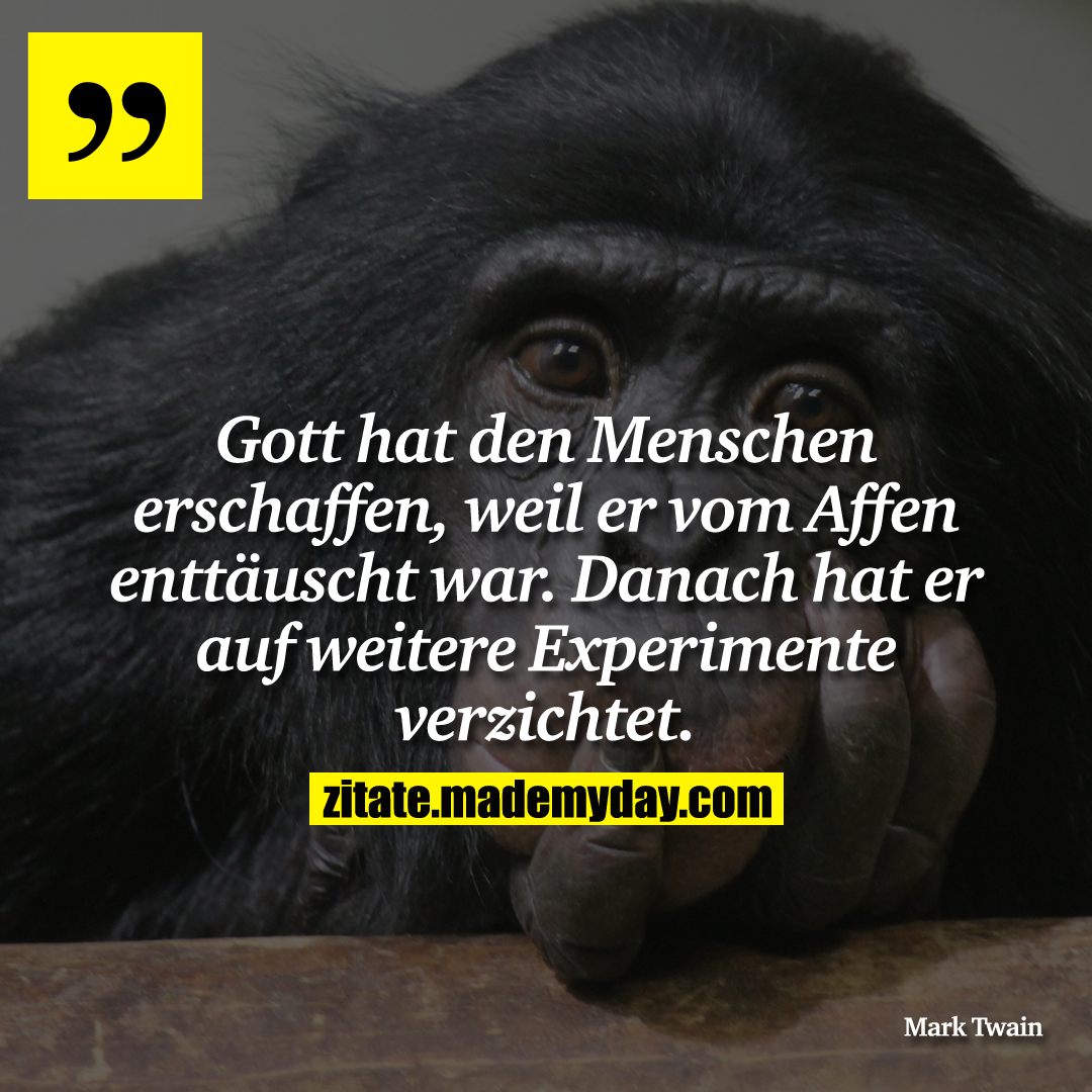 Gott hat den Menschen erschaffen, weil er vom Affen enttäuscht war. Danach hat er auf weitere Experimente verzichtet.