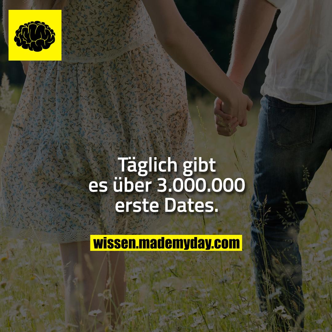 Täglich gibt es über 3.000.000 erste Dates.
