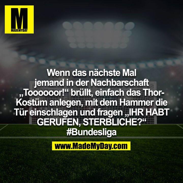 """Und wenn das nächste mal jemand in der Nachbarschaft """"Toooooor!"""" brüllt, einfach das Thor-Kostüm anlegen, mit den Hammer die Tür einschlagen und fragen """"IHR HABT GERUFEN, STERBLICHE?!"""" #Bundesliga"""