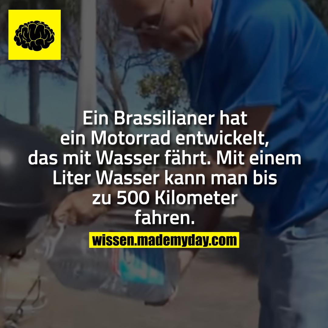 Ein Brassilianer hat ein Motorrad entwickelt, das mit Wasser fährt. Mit einem Liter Wasser kann man bis zu 500 Kilometer fahren.