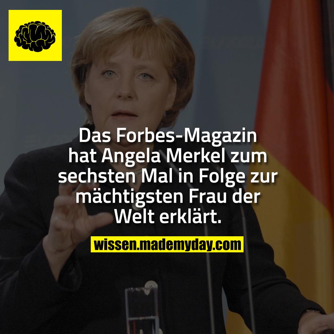 Das Forbes-Magazin hat Angela Merkel zum sechsten Mal in Folge zur mächtigsten Frau der Welt erklärt.