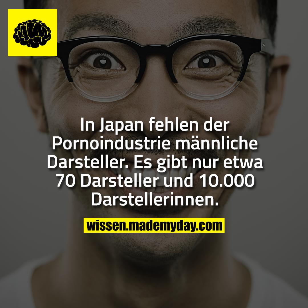 In Japan fehlen der Pornoindustrie männliche Darsteller. Es gibt nur etwa 70 Darsteller und 10.000 Darstellerinnen.
