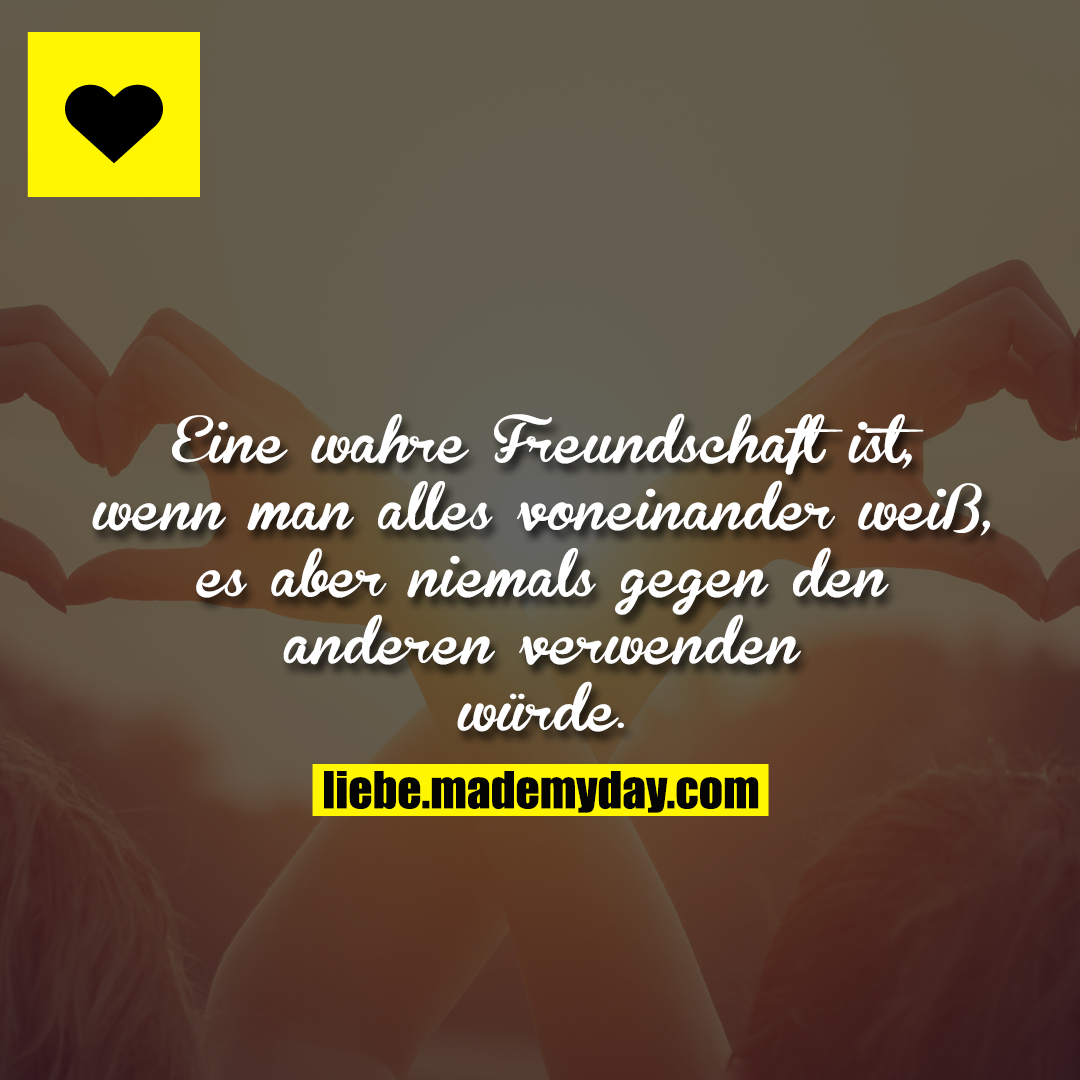 Eine wahre Freundschaft ist, wenn man alles voneinander weiß, es aber niemals gegen den anderen verwenden würde.
