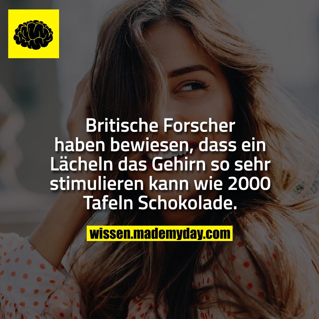 Britische Forscher haben bewiesen, dass ein Lächeln das Gehirn so sehr stimulieren kann wie 2000 Tafeln Schokolade.