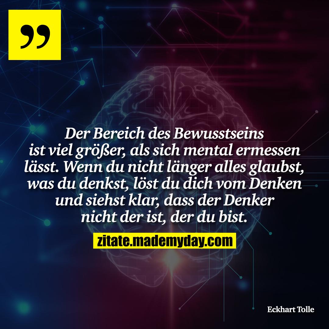 Der Bereich des Bewusstseins ist viel größer, als sich mental ermessen lässt. Wenn du nicht länger alles glaubst, was du denkst, löst du dich vom Denken und siehst klar, dass der Denker nicht der ist, der du bist.