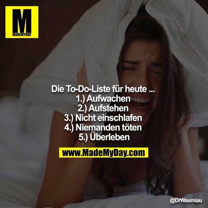 Die To-Do-Liste für heute ... <br /> 1.) Aufwachen <br /> 2.) Aufstehen <br /> 3.) Nicht einschlafen <br /> 4.) Niemanden töten <br /> 5.) Überleben