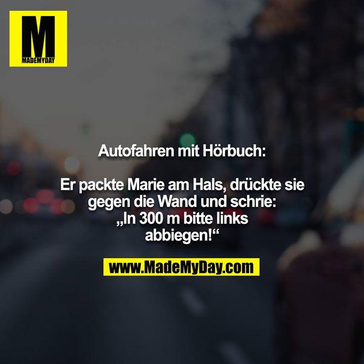 """Autofahren mit Hörbuch:<br /> <br /> Er packte Marie am Hals, drückte sie gegen die Wand und schrie: """"In 300 m bitte links abbiegen!"""""""
