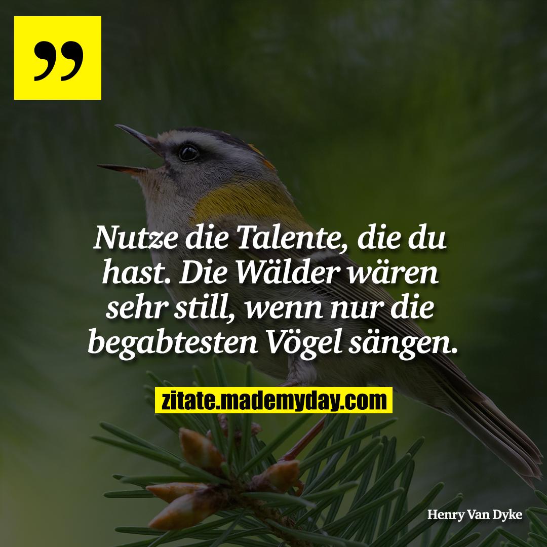 Nutze die Talente, die du hast. Die Wälder wären sehr still, wenn nur die begabtesten Vögel sängen.