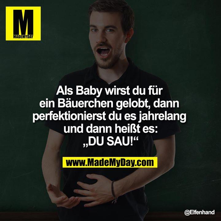 """Als Baby wirst du für ein Bäuerchen gelobt, dann perfektionierst du es jahrelang und dann heißt es:<br /> """"DU SAU!"""""""