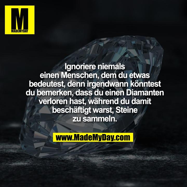 Ignoriere niemals einen Menschen, dem du etwas bedeutest, denn irgendwann könntest du bemerken, dass du einen Diamanten verloren hast, während du damit beschäftigt warst, Steine zu sammeln.