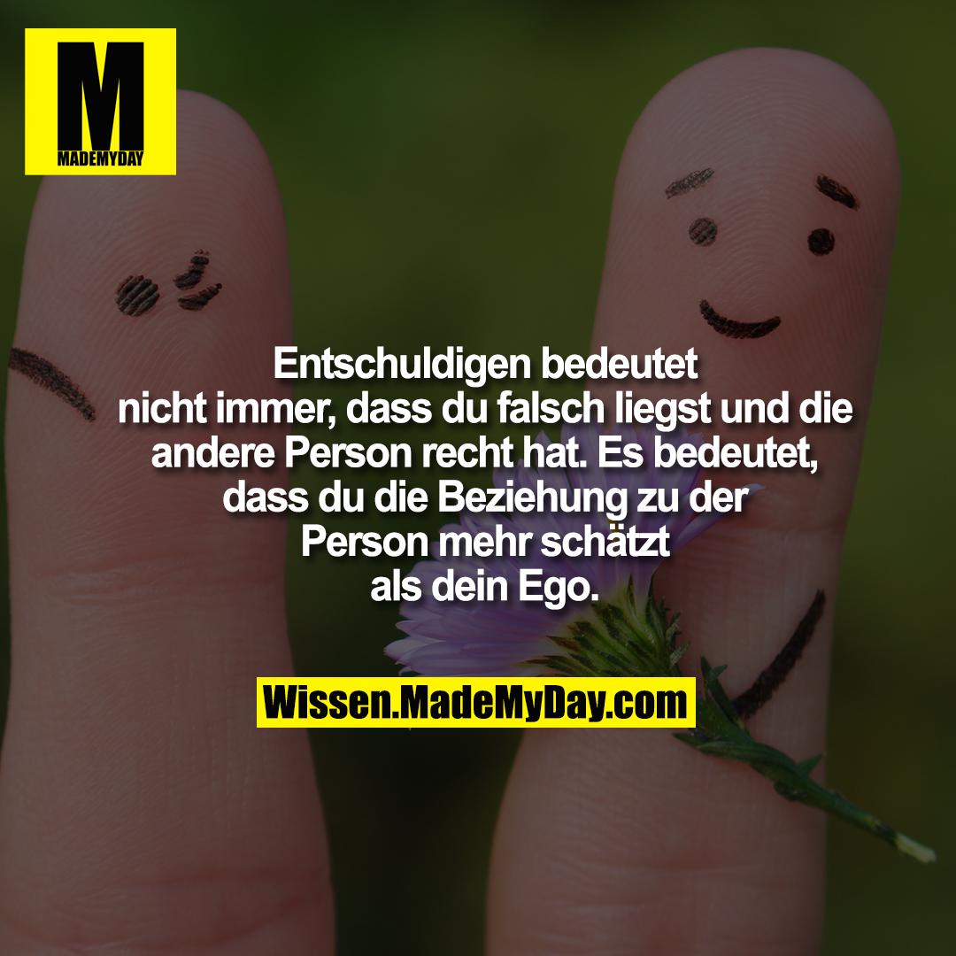 Entschuldigen bedeutet<br /> nicht immer, dass du falsch liegst und die<br /> andere Person recht hat. Es bedeutet,<br /> dass du die Beziehung zu der<br /> Person mehr schätzt<br /> als dein Ego.