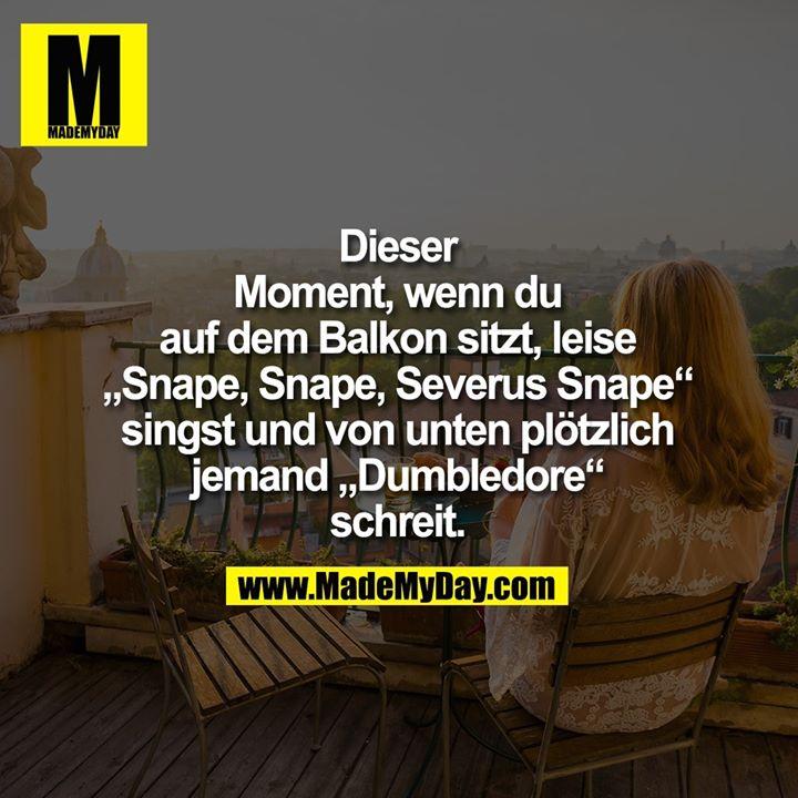 """Dieser<br /> Moment, wenn du<br /> auf dem Balkon sitzt, leise<br /> """"Snape, Snape, Severus Snape""""<br /> singst und von unten plötzlich<br /> jemand """"Dumbledore""""<br /> schreit."""