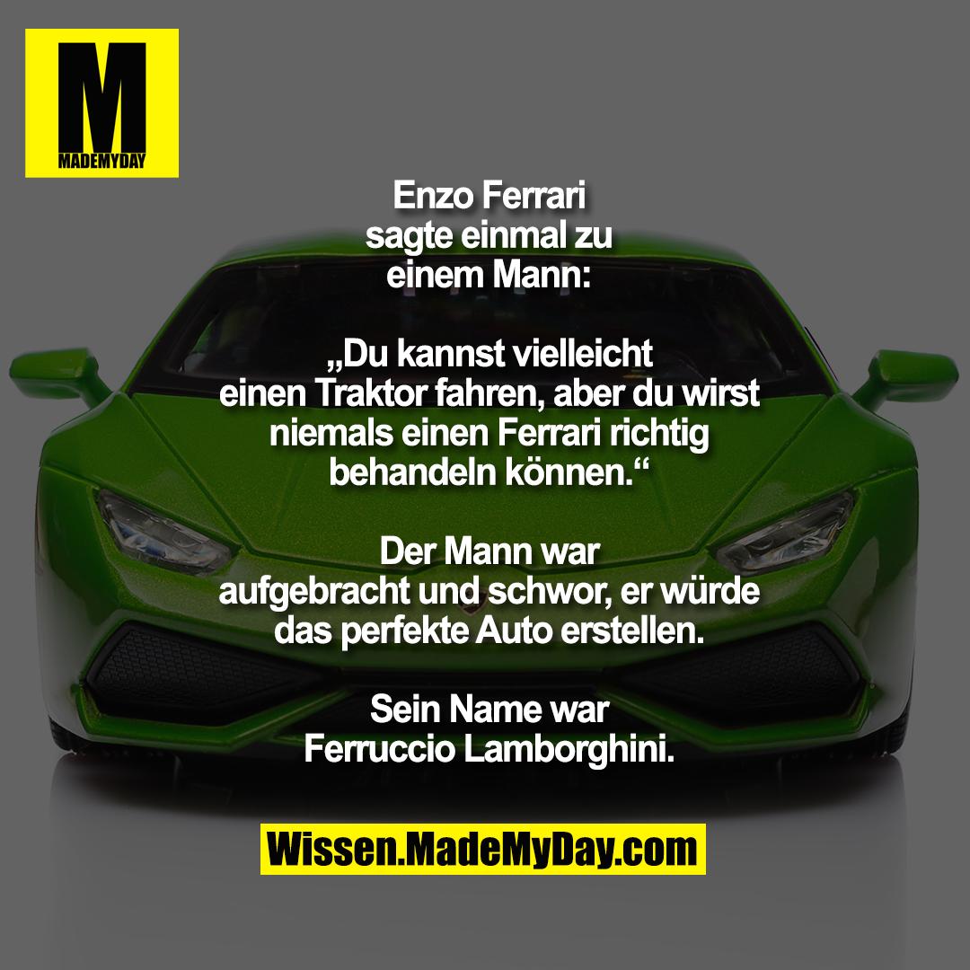 """Enzo Ferrari<br /> sagte einmal zu<br /> einem Mann:<br /> <br /> """"Du kannst vielleicht<br /> einen Traktor fahren, aber du wirst<br /> niemals einen Ferrari richtig<br /> behandeln können.""""<br /> <br /> Der Mann war<br /> aufgebracht und schwor, er würde<br /> das perfekte Auto erstellen.<br /> <br /> Sein Name war<br /> Ferruccio Lamborghini."""