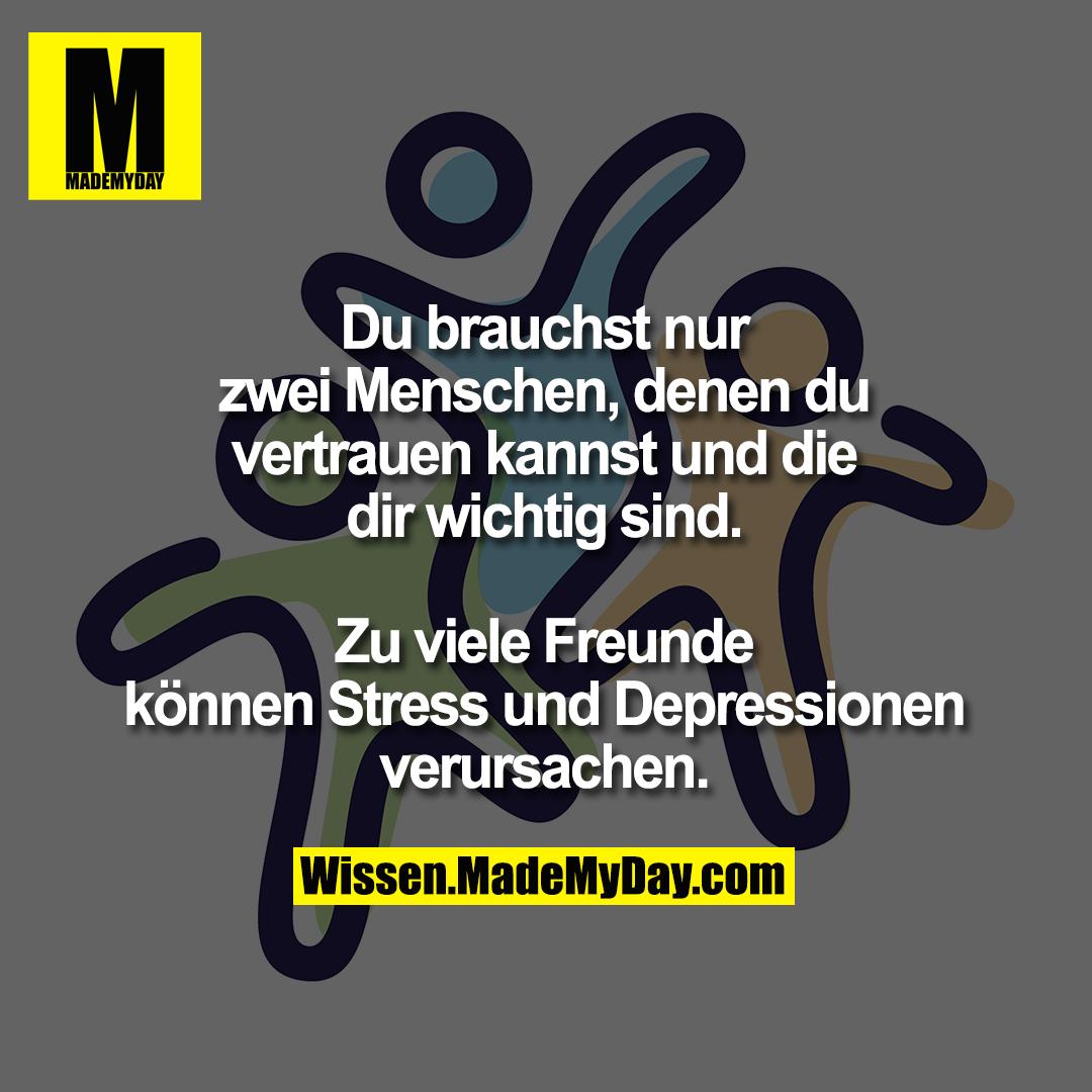 Du brauchst nur zwei Menschen, denen du vertrauen kannst und die dir wichtig sind.<br /> Zu viele Freunde können Stress und Depressionen verursachen.