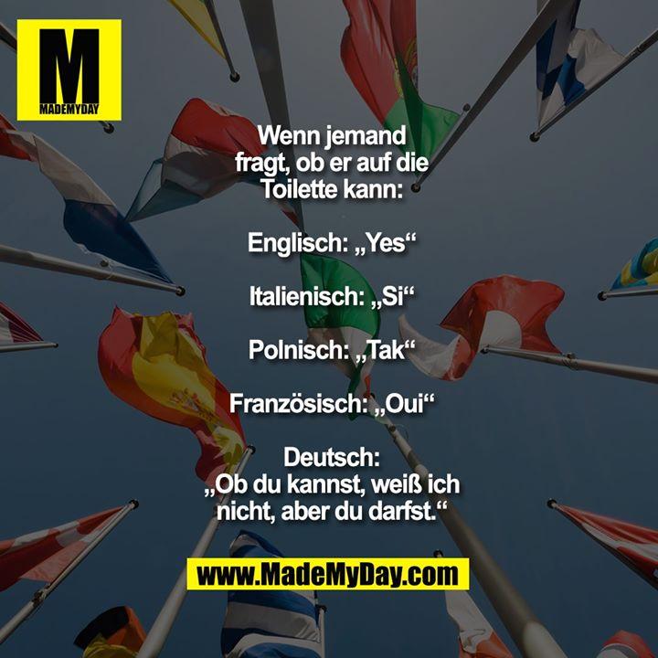 """Wenn jemand<br /> fragt, ob er auf die<br /> Toilette kann:<br /> <br /> Englisch: """"Yes""""<br /> <br /> Italienisch: """"Si""""<br /> <br /> Polnisch: """"Tak""""<br /> <br /> Französisch: """"Oui""""<br /> <br /> Deutsch: """"Ob du kannst,<br /> weiß ich nicht, aber<br /> du darfst."""""""