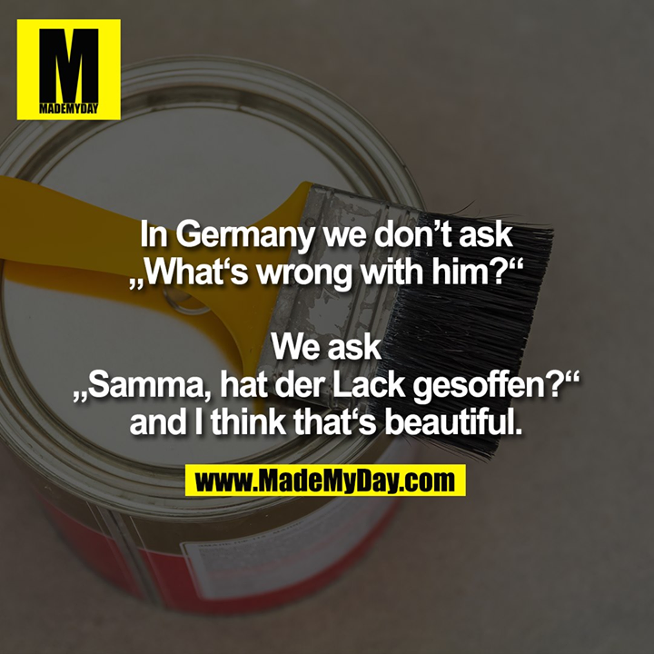 """In Germany we don't ask<br /> """"What's wrong with him?""""<br /> We ask<br /> """"Samma, hat der Lack gesoffen?""""<br /> and I think that's beautiful."""