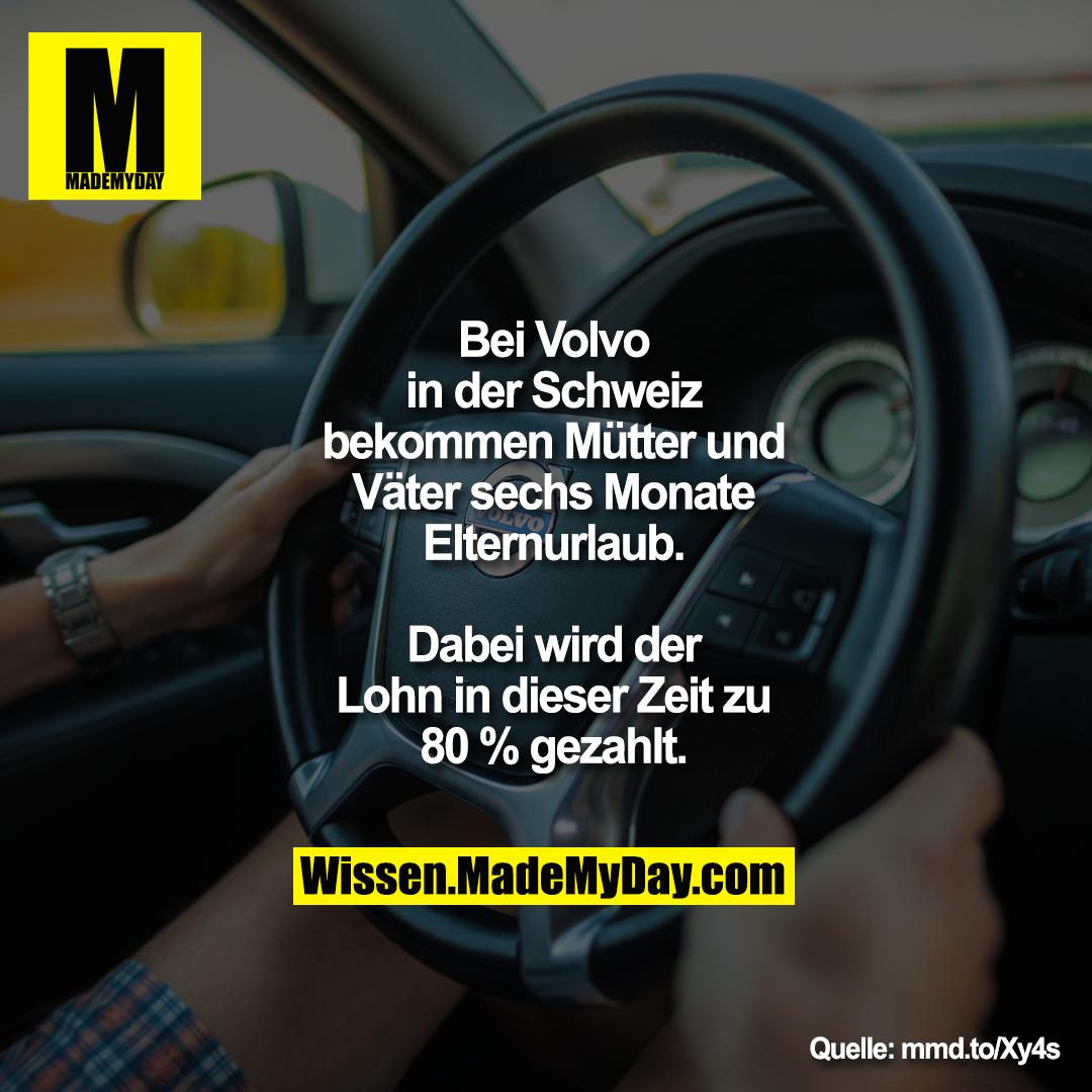 Bei Volvo in der Schweiz bekommen Mütter und Väter sechs Monate Elternurlaub. Dabei wird der Lohn in dieser Zeit zu 80 % gezahlt.