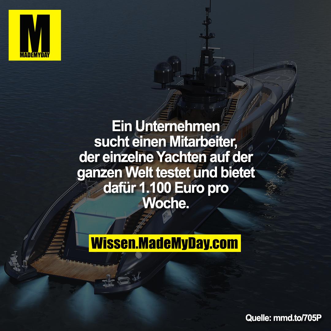 Ein Unternehmen sucht einen<br /> Mitarbeiter, der einzelne Yachten auf<br /> der ganzen Welt testet und bietet<br /> dafür 1.100 Euro pro Woche.