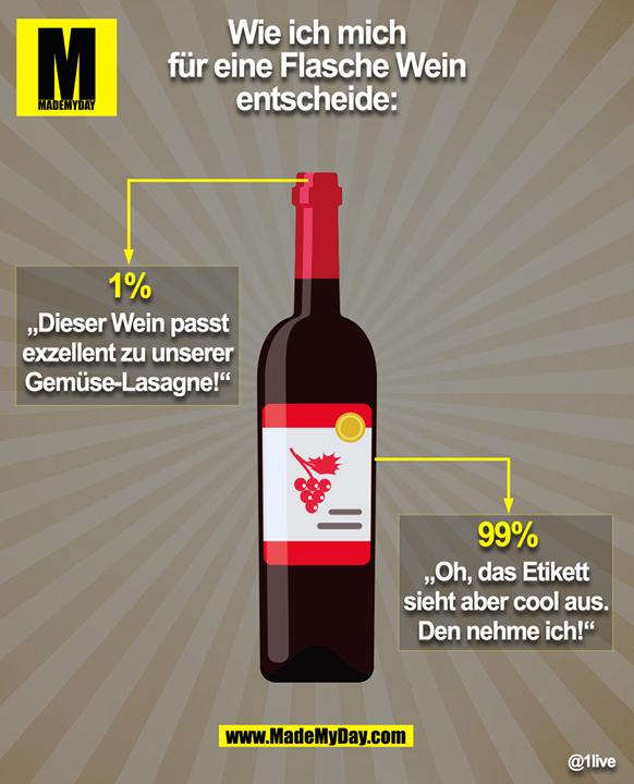 """Wie ich mich<br /> für eine Flasche Wein<br /> entscheide:<br /> <br /> 1%<br /> """"Dieser Wein passt<br /> exzellent zu unserer<br /> Gemüse-Lasagne!""""<br /> <br /> 99%<br /> """"Oh, das Etikett<br /> sieht aber cool aus.<br /> Den nehme ich!"""""""