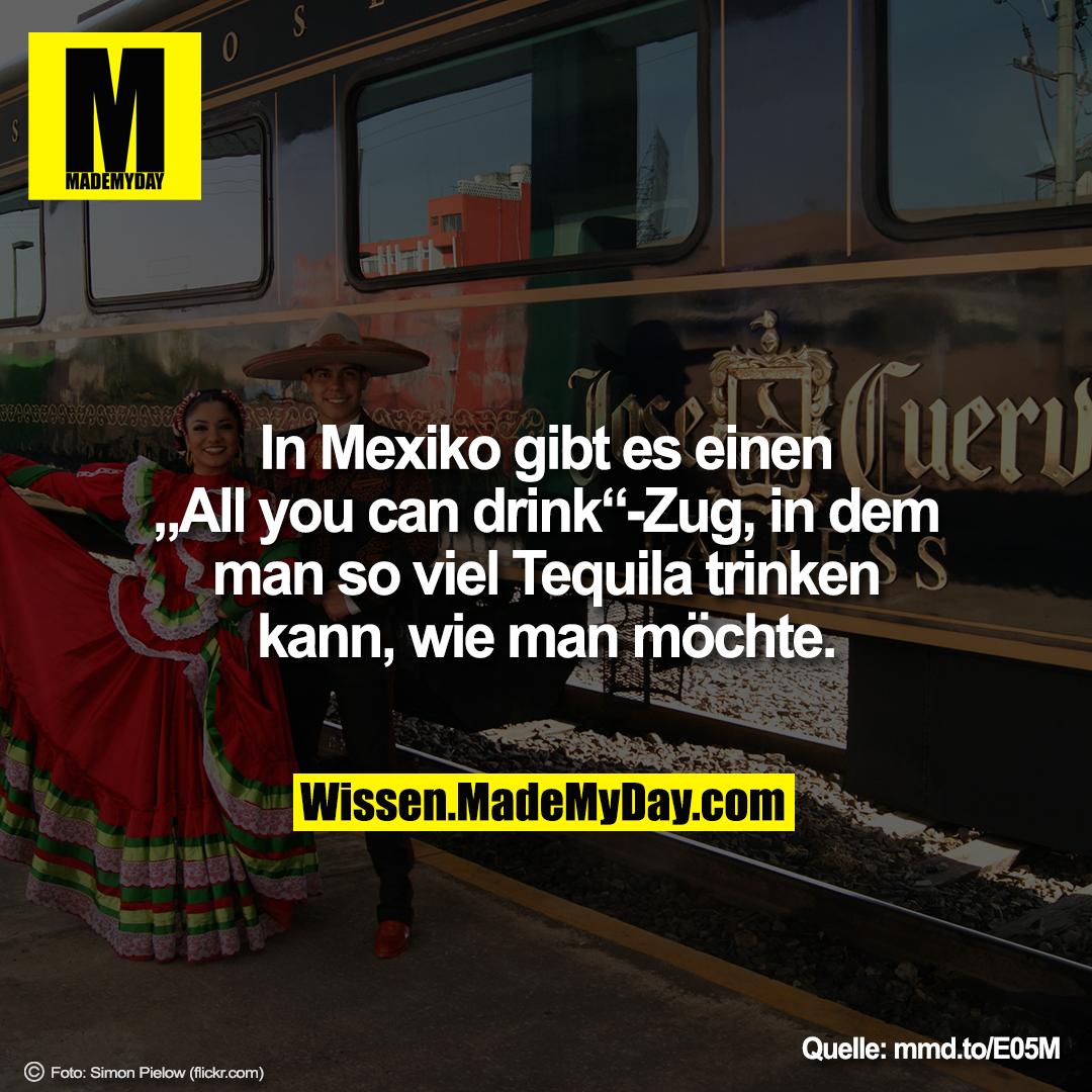"""In Mexiko gibt es einen """"All you can drink""""-Zug, in dem man so viel Tequila trinken kann, wie man möchte."""