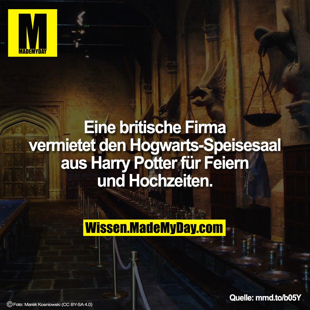 Eine britische Firma vermietet den Hogwarts-Speisesaal aus Harry Potter für Feiern und Hochzeiten.<br /> <br /> mmd.to/b05Y