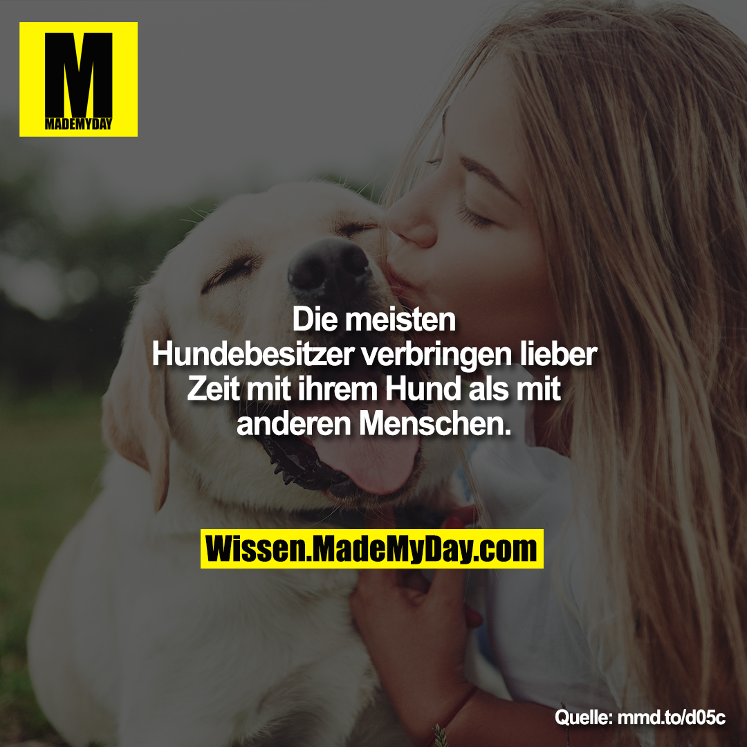 Die meisten Hundebesitzer verbringen lieber Zeit mit ihrem Hund als mit anderen Menschen.<br /> <br /> mmd.to/d05c