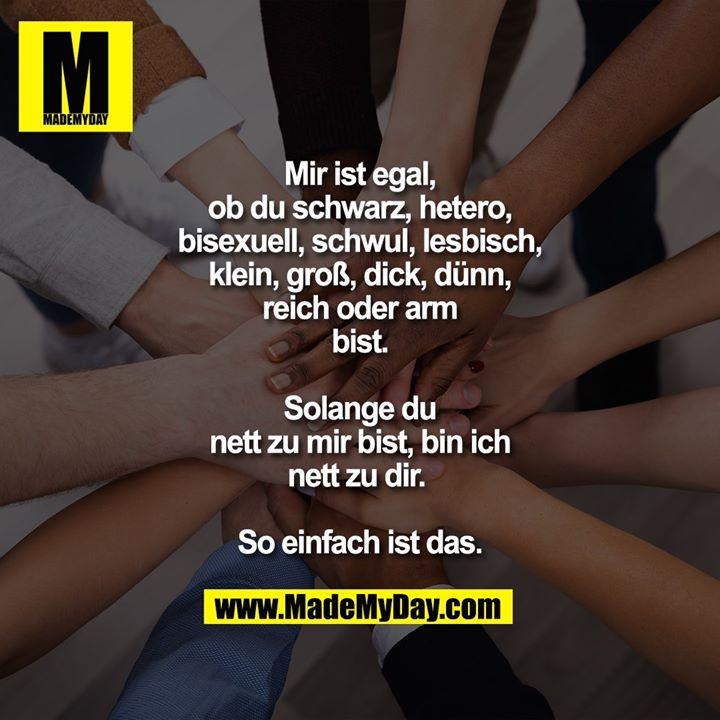 Mir ist egal, ob du schwarz, hetero, bisexuell, schwul, lesbisch, klein, groß, dick, dünn, reich oder arm bist. Solange du nett zu mir bist, bin ich nett zu dir. So einfach ist das.