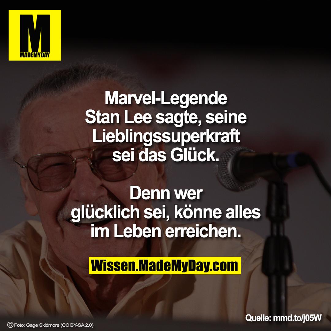 Marvel-Legende Stan Lee sagte, seine Lieblingssuperkraft sei das Glück.<br /> Denn wer glücklich sei, könne alles im Leben erreichen.<br /> <br /> mmd.to/j05W