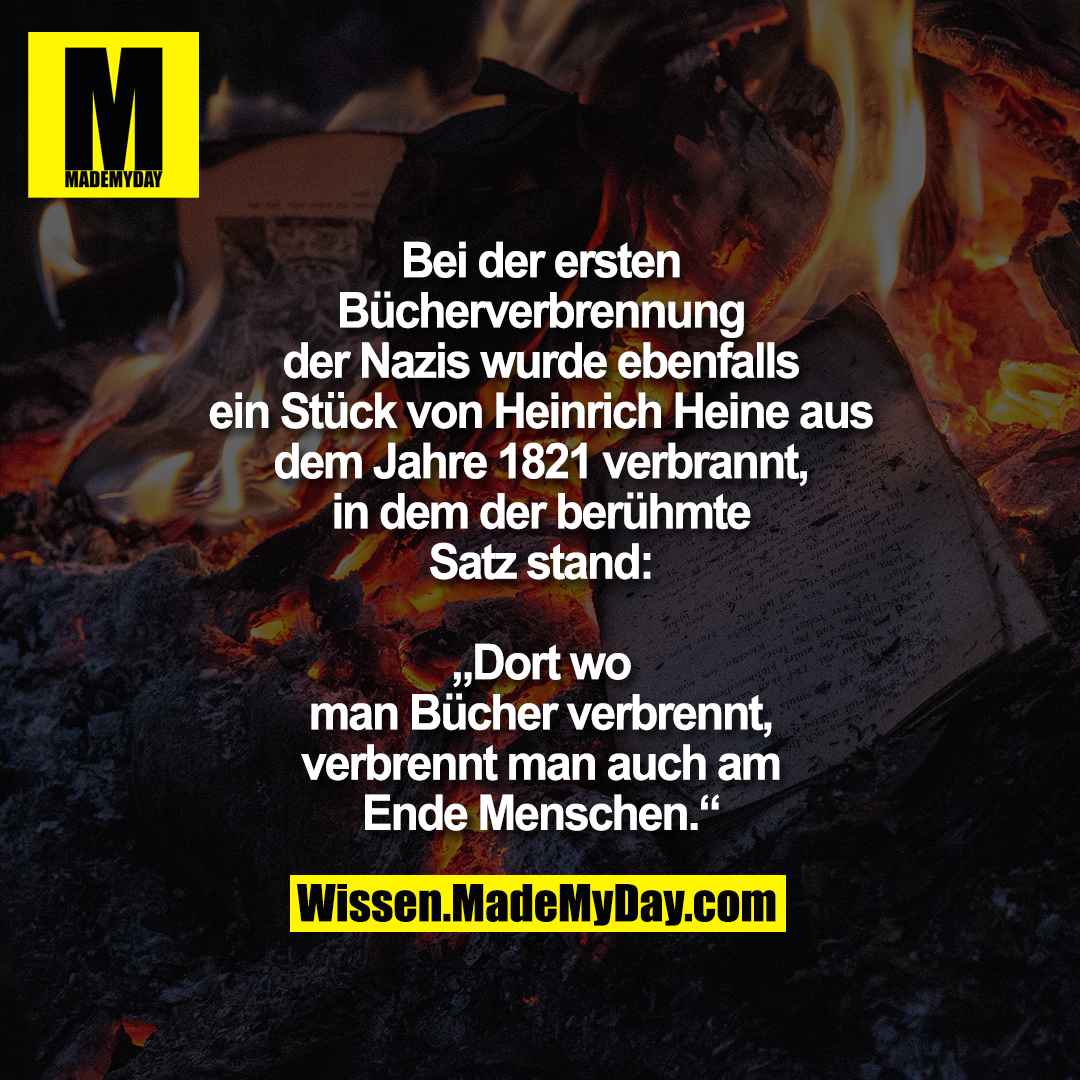 """Bei der ersten Bücherverbrennung der Nazis wurde ebenfalls ein Stück von Heinrich Heine aus dem Jahre 1821 verbrannt, in dem der berühmte Satz stand:<br /> """"Dort wo man Bücher verbrennt, verbrennt man auch am Ende Menschen."""""""
