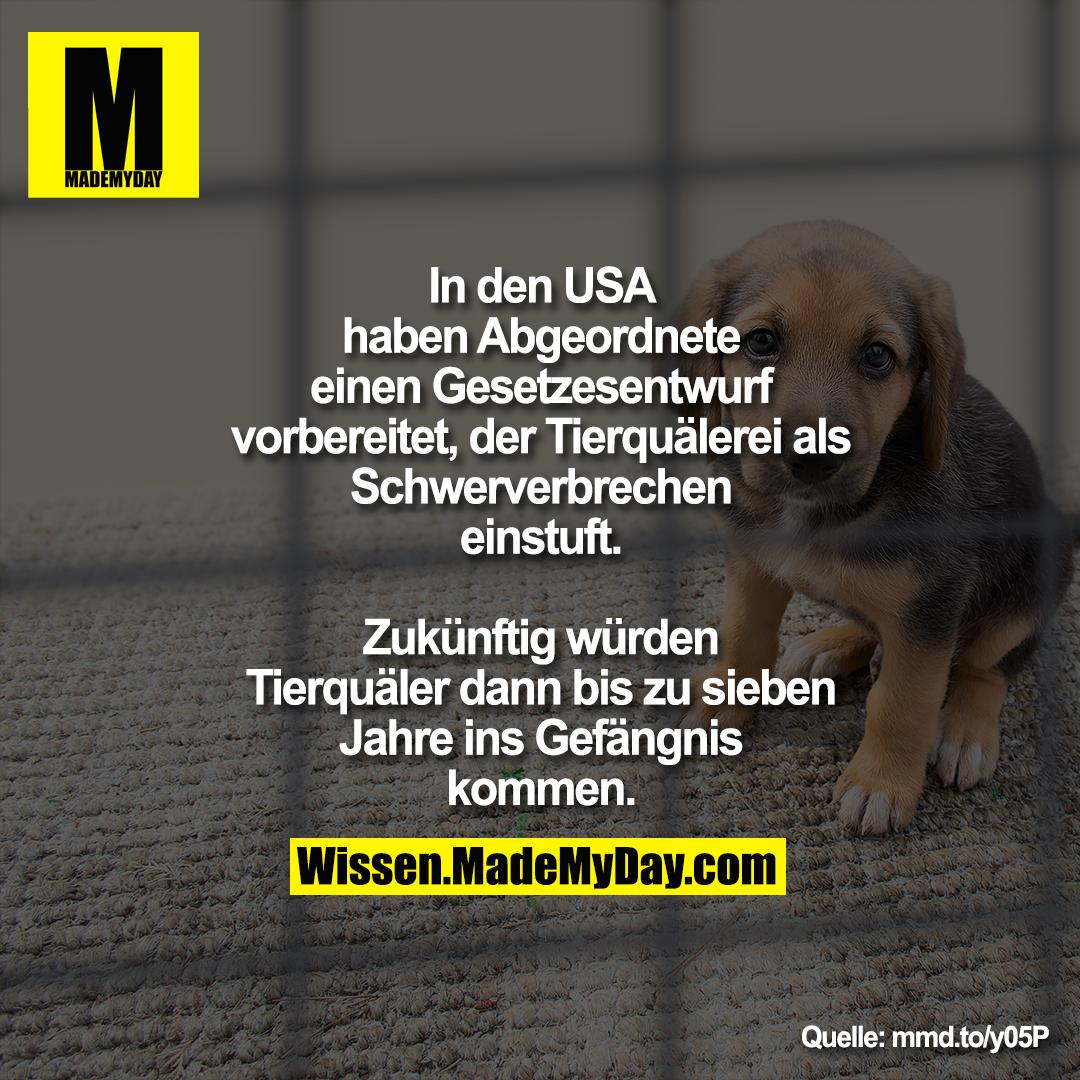 In den USA haben Abgeordnete einen<br /> Gesetzesentwurf vorbereitet, der<br /> Tierquälerei als Schwerverbrechen<br /> einstuft. Zukünftig würden Tierquäler<br /> dann bis zu sieben Jahre ins Gefängnis<br /> kommen.<br /> mmd.to/y05P