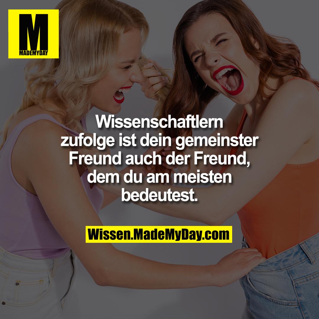 Wissenschaftlern zufolge ist<br /> dein gemeinster Freund<br /> auch der Freund, dem du<br /> am meisten bedeutest.