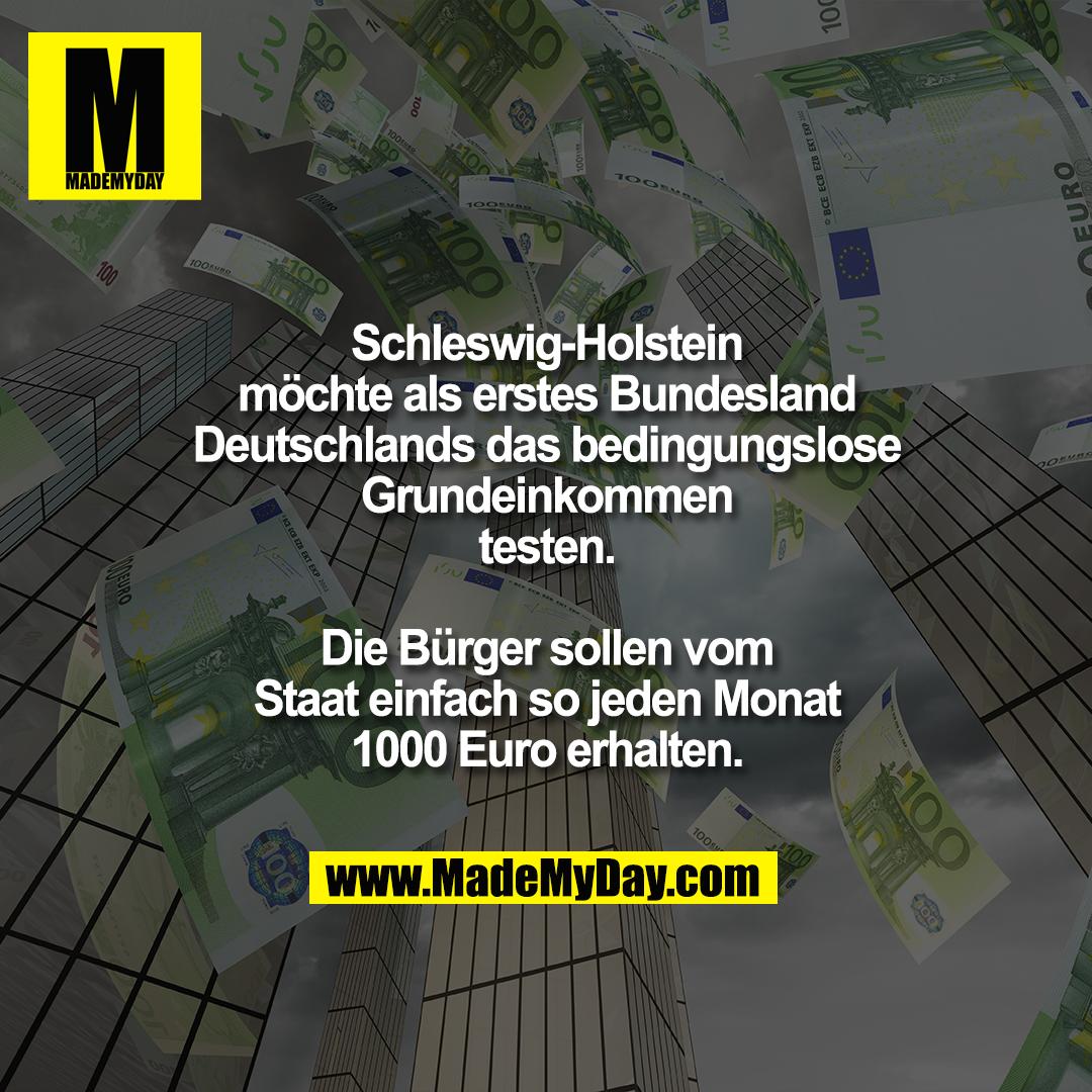 Schleswig-Holstein möchte als erstes Bundesland Deutschlands das bedingungslose Grundeinkommen testen. Die Bürger sollen vom Staat einfach so jeden Monat 1000 Euro erhalten.
