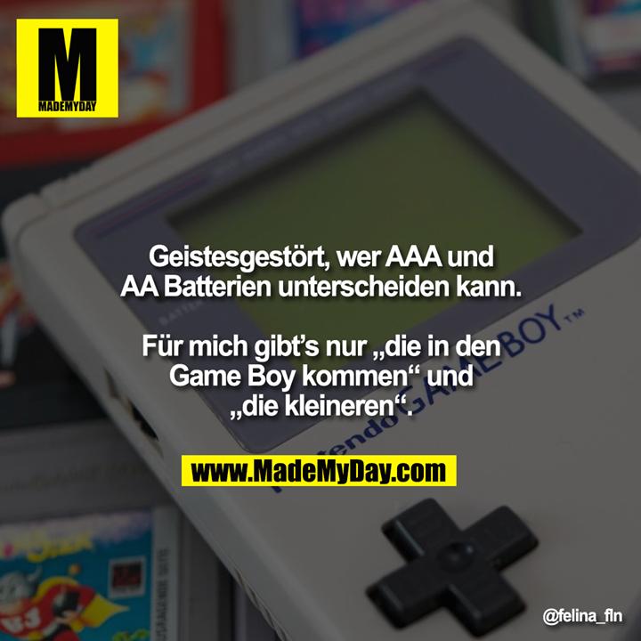 """Geistesgestört, wer AAA und<br /> AA Batterien unterscheiden kann.<br /> <br /> Für mich gibt's nur """"die in den<br /> Game Boy kommen"""" und<br /> """"die kleineren""""."""