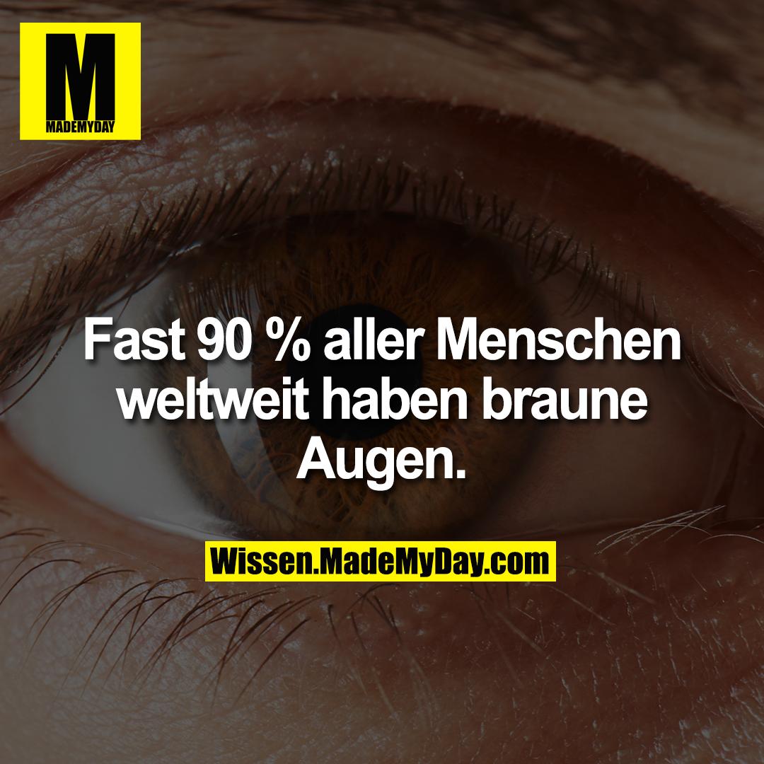 Fast 90 % aller Menschen weltweit haben braune Augen.