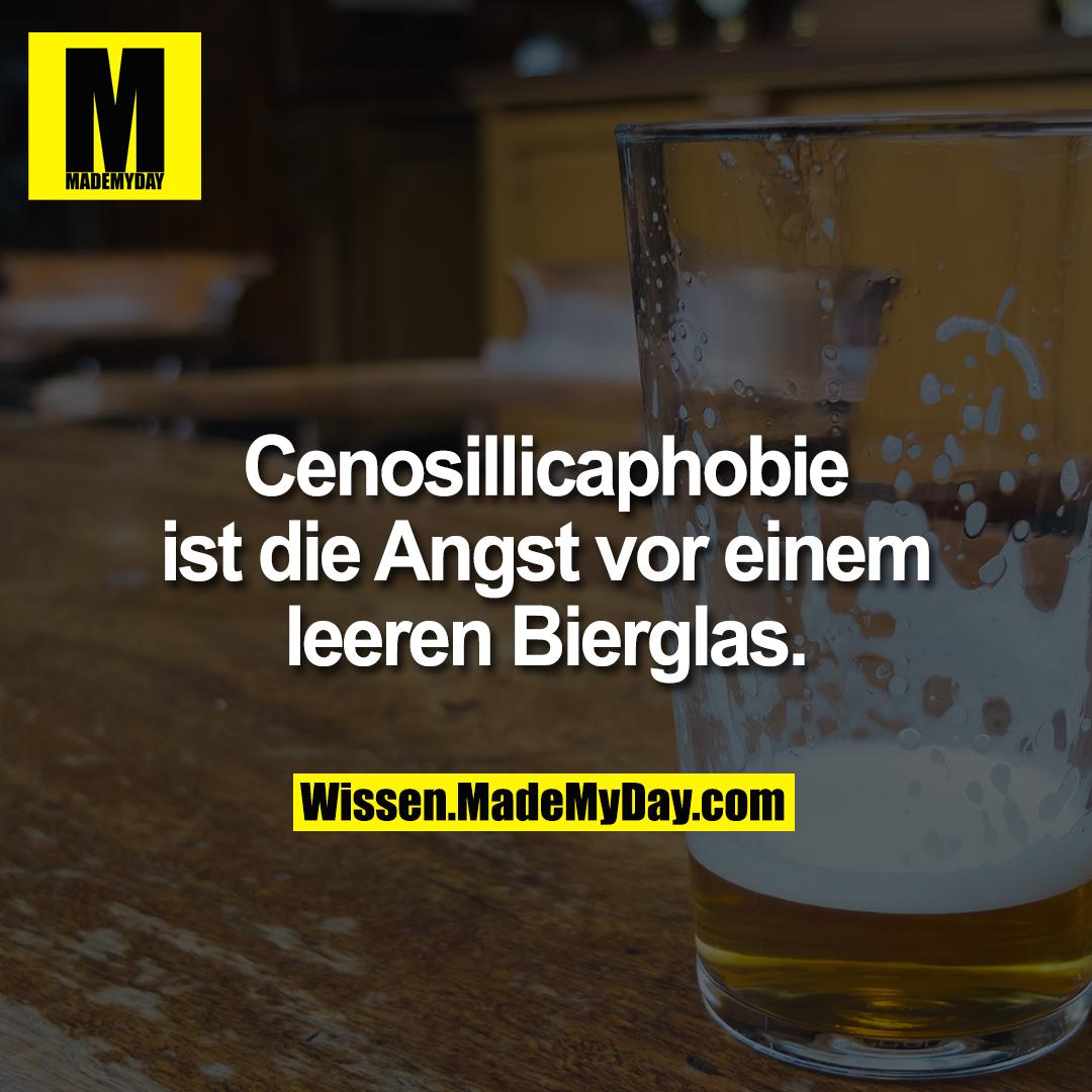 Cenosillicaphobie ist die Angst vor einem leeren Bierglas.