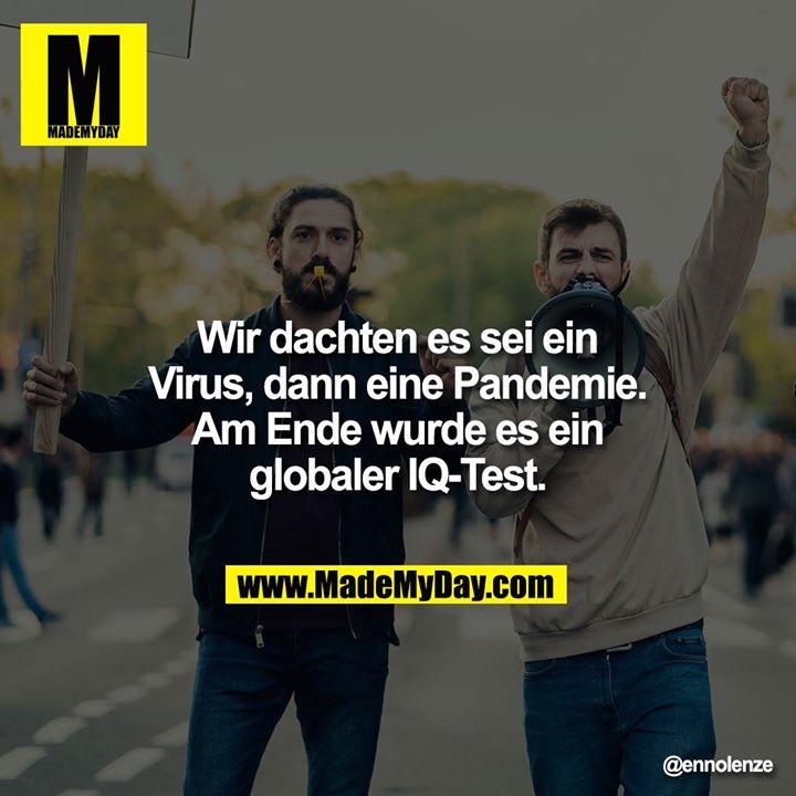 Wir dachten es sei ein Virus, dann eine Pandemie. Am Ende wurde es ein globaler IQ-Test.