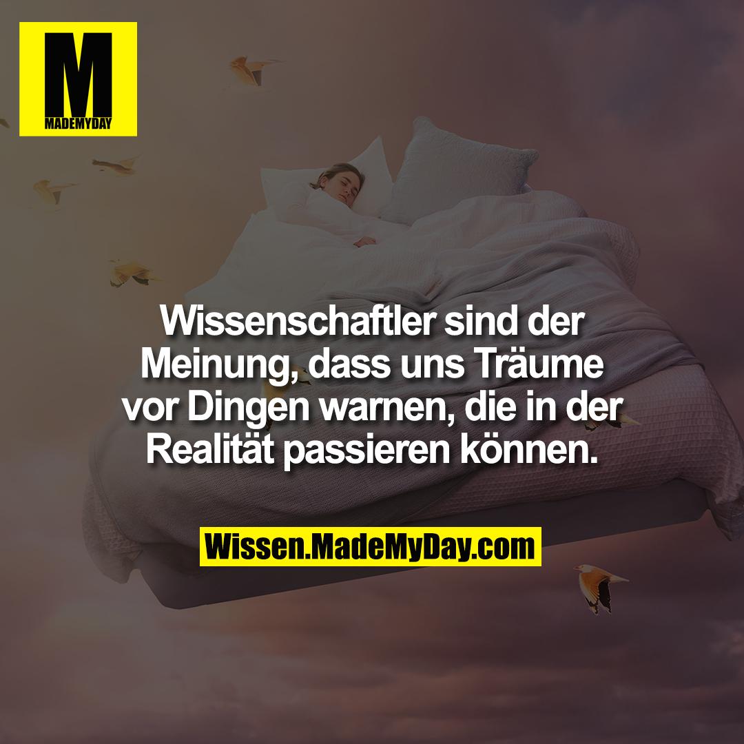 Wissenschaftler sind der Meinung, dass uns Träume vor Dingen warnen, die in der Realität passieren können.