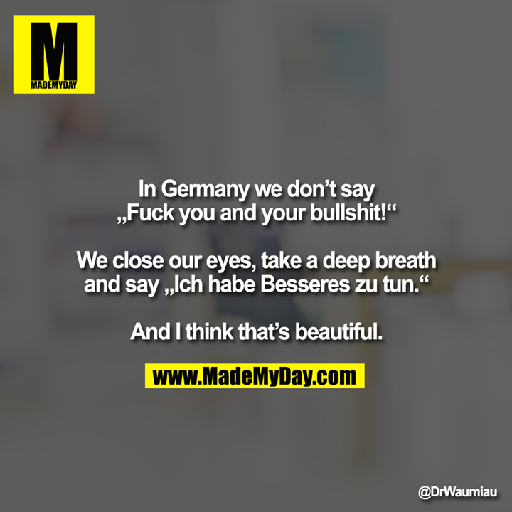 """In Germany we don't say<br /> """"Fuck you and your bullshit!""""<br /> <br /> We close our eyes, take a deep breath and say """"Ich habe Besseres zu tun.""""<br /> <br /> And I think that's beautiful."""