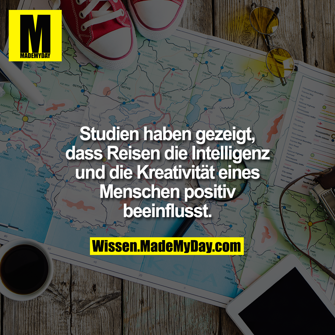Studien haben gezeigt, dass Reisen die Intelligenz und die Kreativität eines Menschen positiv beeinflusst.