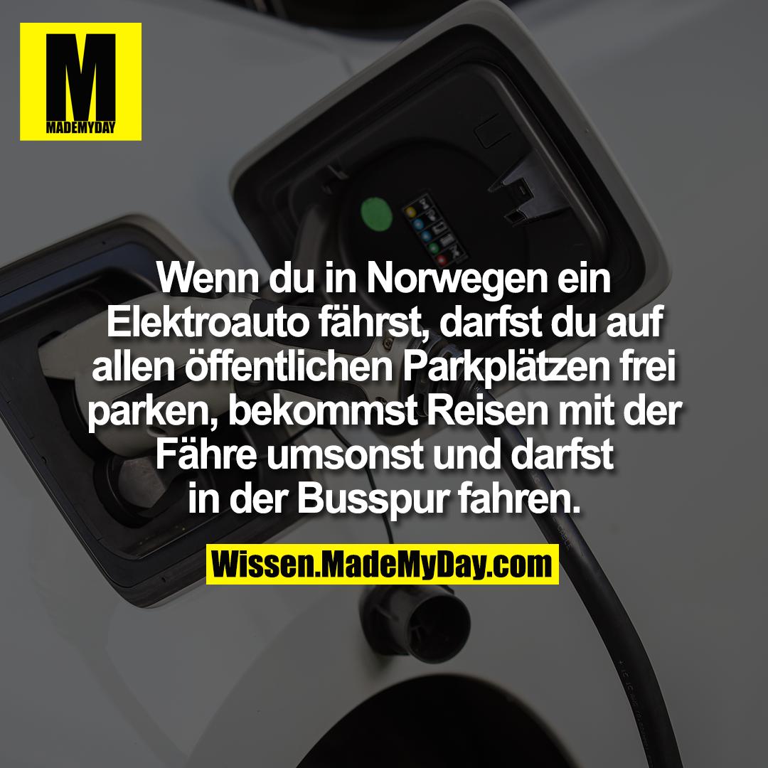 Wenn du in Norwegen ein Elektroauto fährst, darfst du auf allen öffentlichen Parkplätzen frei parken, bekommst Reisen mit der Fähre umsonst und darfst in der Busspur fahren.
