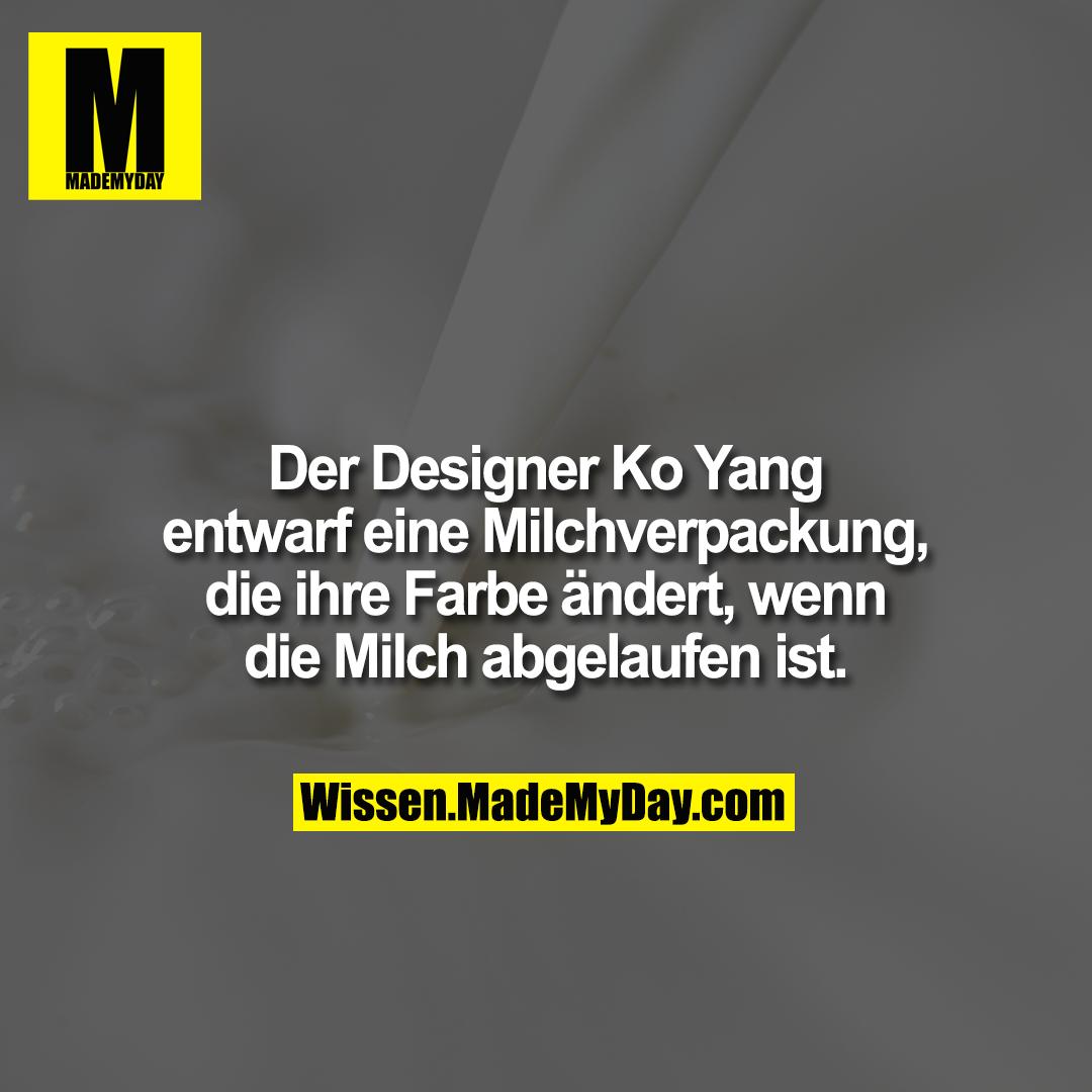 Der Designer Ko Yang entwarf eine Milchverpackung, die ihre Farbe ändert, wenn die Milch abgelaufen ist.