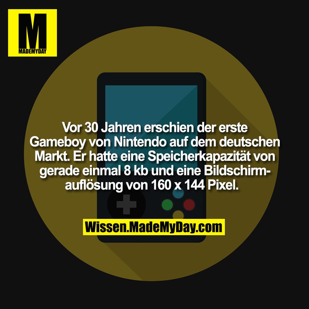 Vor 30 Jahren erschien der erste Gameboy von Nintendo auf dem deutschen Markt. Er hatte eine Speicherkapazität von gerade einmal 8 kb und eine Bildschirmauflösung von 160 x 144 Pixel.