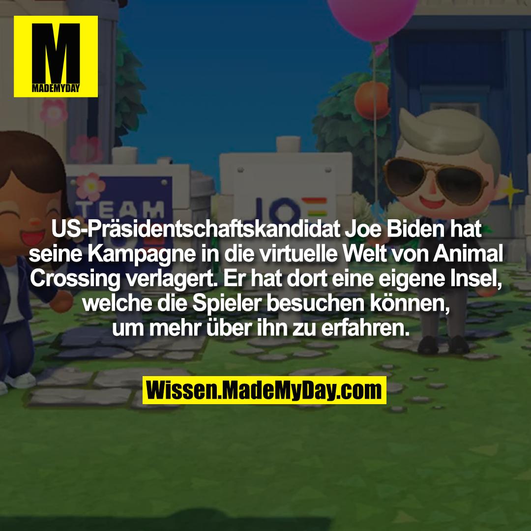 US-Präsidentschaftskandidat Joe Biden hat seine Kampagne in die virtuelle Welt von Animal Crossing verlagert. Er hat dort eine eigene Insel, welche die Spieler besuchen können, um mehr über ihn zu erfahren.