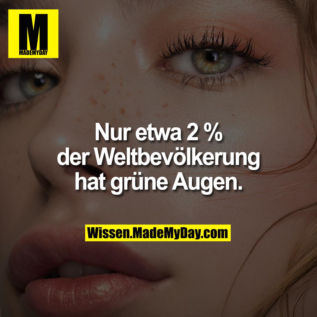 Nur etwa 2 % der Weltbevölkerung hat grüne Augen.