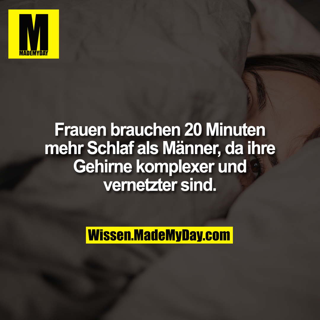 Frauen brauchen 20 Minuten mehr Schlaf als Männer, da ihre Gehirne komplexer und vernetzter sind.